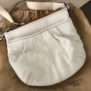 White Leather Crossbody Coach Purse